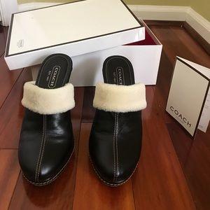 Vintage Coach leather clog heels